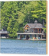 Two Luxury Boathouses Wood Print