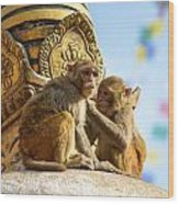 Two Macaques On Top Of Chorten Wood Print