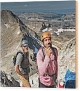 Two Male Hiker Stop To Look Wood Print