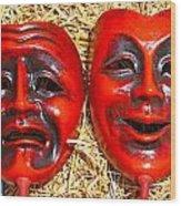 Two Masks Wood Print by Borislav Marinic