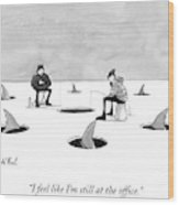 Two Men Ice Fishing Wood Print