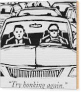 Two Men In A Car Are Stuck In Traffic Wood Print