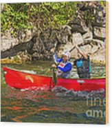 Two Men In A Tandem Canoe Wood Print