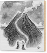Two Men In Headdresses And Capes Stand Wood Print