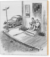 Two Men In Street Clothes Are Sitting Wood Print
