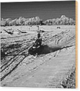 two men on snowmobiles crossing frozen fields in rural Forget Saskatchewan Canada Wood Print