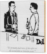 Two Men Talk In A Bar Wood Print