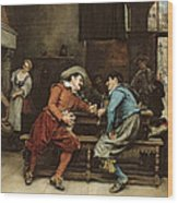Two Men Talking In A Tavern Wood Print