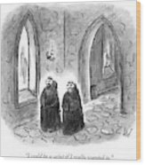 Two Monks Walk Through A Monastery Wood Print