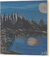Two Moons That Meet In The Night Wood Print