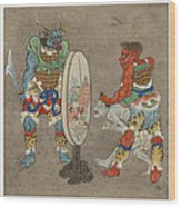 Two Mythological Buddhist Or Hindu Figures Circa 1878 Wood Print by Aged Pixel