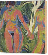 Two Nude Women In A Wood Wood Print
