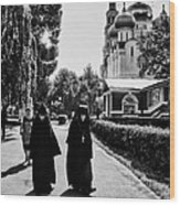 Two Nuns- Black And White - Novodevichy Convent - Russia Wood Print