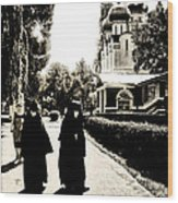 Two Nuns - Sepia - Novodevichy Convent - Russia Wood Print