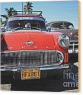 Two Old American Cars Wood Print