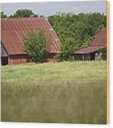 Two Old Barns Wood Print