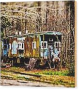 Two Old Cabooses Wood Print