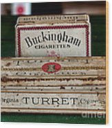 Two Old Cigarette Boxes Wood Print