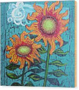 Two Orange Sunflowers Wood Print