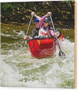 Two Paddlers In A Whitewater Canoe Making A Turn Wood Print