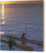 Two Paddlers In Sea Kayaks At Sunrise Wood Print