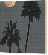 Two Palms And The Moon Wood Print