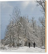 Two People Doing A Walk In Beautiful Forest In Winter Wood Print by Matthias Hauser