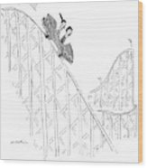 Two People Ride A Roller Coaster Wood Print