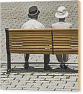 Two People Seated On A Bench Wood Print