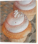 Two Pink Cupcakes Art Prints Wood Print