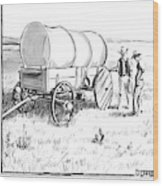 Two Pioneers Discuss The Wheels Of Their Wagon Wood Print