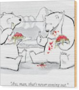 Two Polar Bears Eat Spaghetti And Meatballs.  One Wood Print