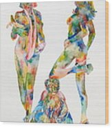 Two Psychedelic Girls With Chimp And Banana Portrait Wood Print by Fabrizio Cassetta