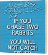 Two Rabbits Blue Wood Print