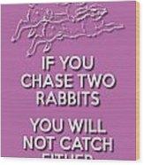 Two Rabbits Violet Wood Print