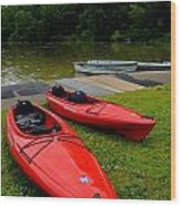 Two Red Kayaks Wood Print
