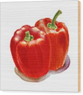 Two Red Peppers Wood Print