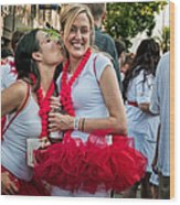 Two Red Tutus At Running Of The Bulls Wood Print