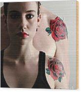 Two Rose Tattoos Wood Print
