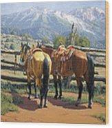 Two Saddle Horses Wood Print