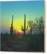 Two Saguaro Wood Print