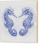 Two Seahorses- Blue Wood Print