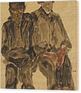 Two Seated Boys Wood Print by Egon Schiele