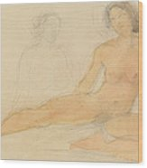 Two Seated Nudes Wood Print