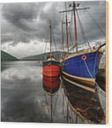 Two Ships At The Cost Of Loch Fyne Wood Print