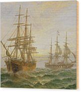 Two Ships Passing At Sunset Wood Print by Claude T Stanfield Moore