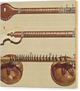 Two Sitars And A Rudra Vina, Indian Wood Print