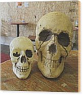 Two Skulls - At The Cafe Wood Print