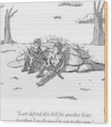 Two Soldiers Talk While Hidden Behind A Bunker Wood Print