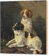 Two Spaniels Waiting For The Hunt Wood Print